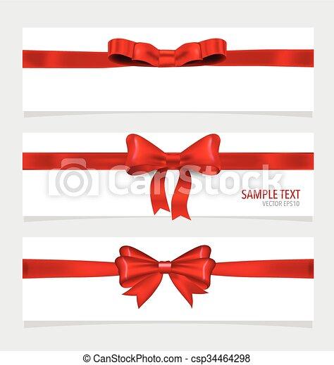 ribbons., vermelho, cartões - csp34464298