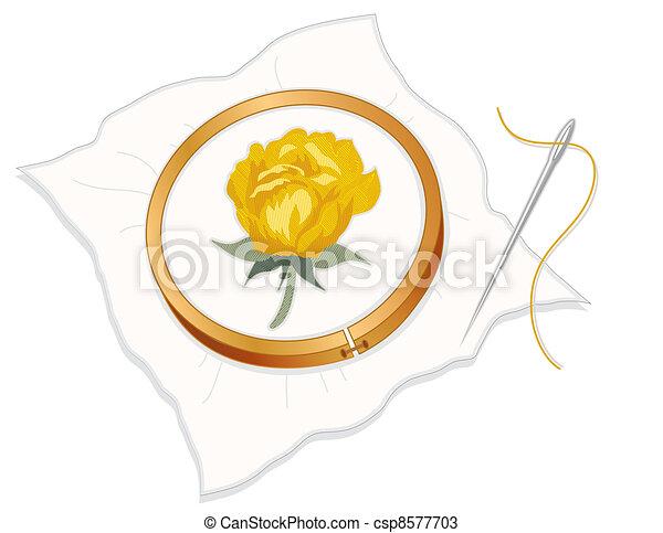 ricamo ad ago, ricamo, rosa gialla - csp8577703