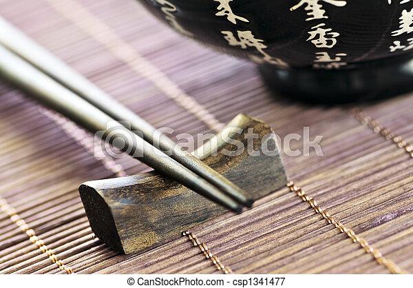 Rice bowl and chopsticks - csp1341477