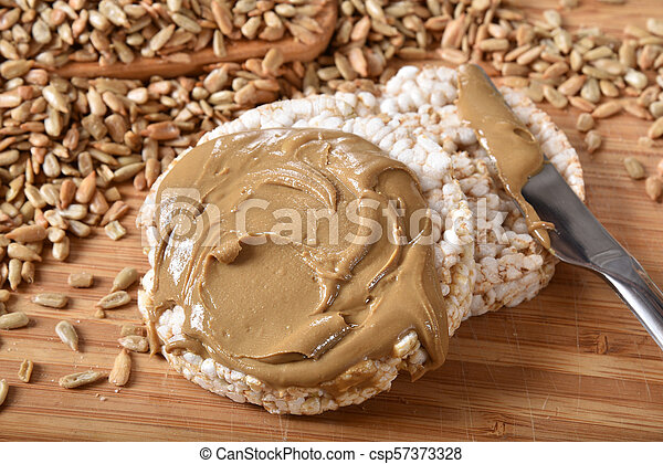 Rice Cakes with Sunflower Seed Butter - csp57373328