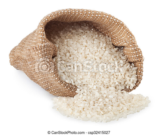 rice in bag isolated on white background - csp32415027