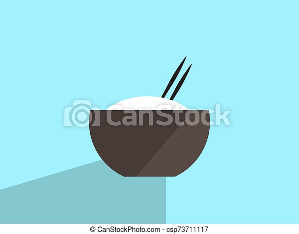 Rice in bowl, illustration, vector on white background. - csp73711117