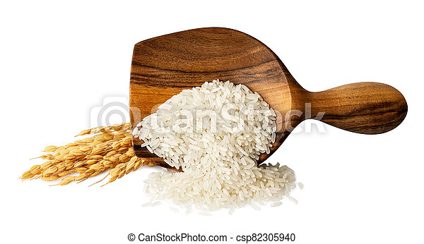 rice in wooden scoop isolated - csp82305940