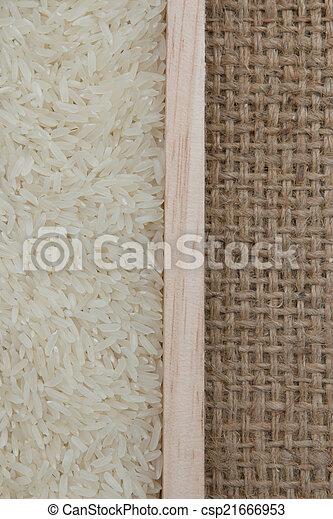 rice on sackcloth - csp21666953