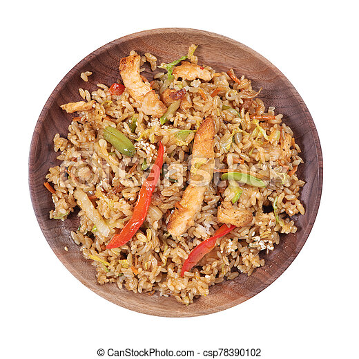 Rice with chicken and vegetables on a plate. Top view - csp78390102