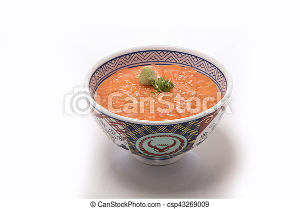 Rice with raw salmon - csp43269009