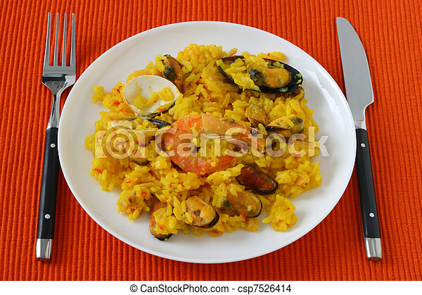 Rice with seafood on a plate - csp7526414