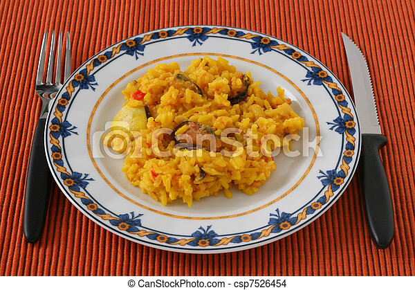 Rice with seafood on a plate - csp7526454