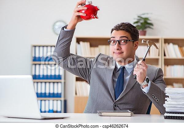 ricerca, suo, risparmi, piggy, uomo affari, banca - csp46262674