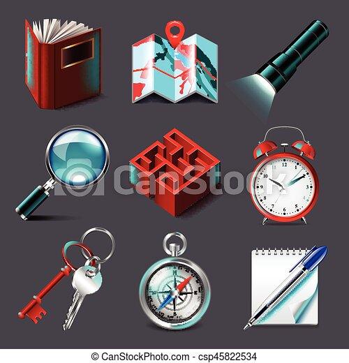 ricerca, vettore, set, icone - csp45822534