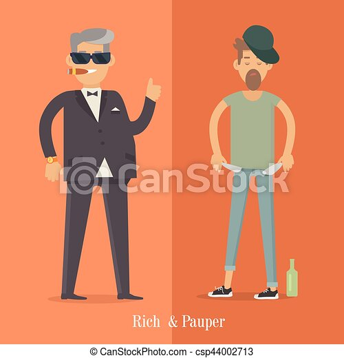 Clip art vector of weight scale between rich man and poor man rich and pauper men social level human poster sciox Images