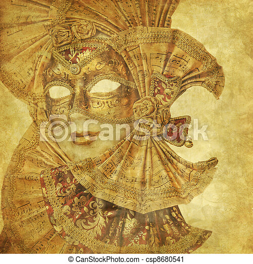 Rich antique Venetian Mask with music paper decorations on a grunge wallpaper  - csp8680541