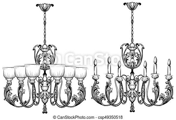 Rich baroque classic chandelier luxury decor accessory design rich baroque classic chandelier luxury decor accessory design vector illustration sketch aloadofball Images