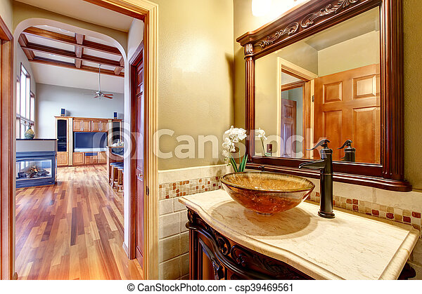 Bathroom Interior In Luxury House Rich Bathroom Vanity Cabinet With Vessel Sink And Mirror View Living Room Northwest Usa Canstock