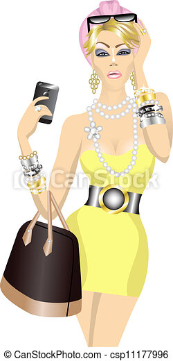 rich beautiful fashion woman with bag and mobile phone - csp11177996