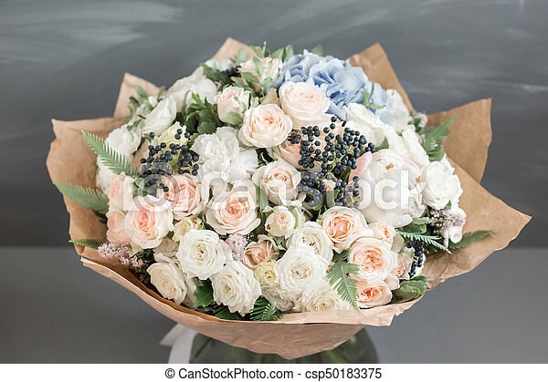 39c4e23c Rich Bunch Of Peonies, Roses And Hydrangea Flowers, Green Leaf. Fresh  Spring Bouquet. Summer