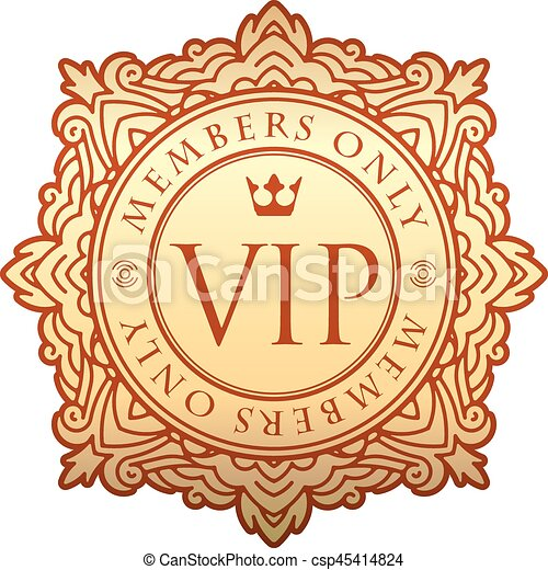 rich decorate gold vip decor with unusual stylish ornate round frame caption members only and
