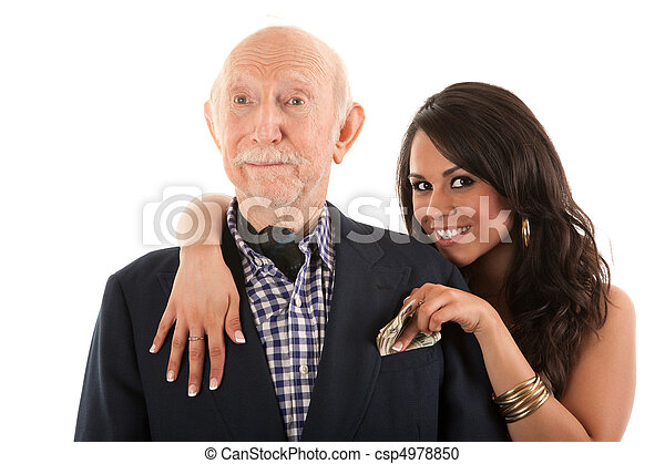 Rich elderly man with gold-digger companion or wife - csp4978850