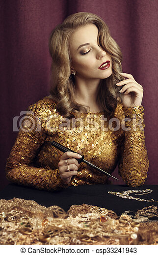 Rich girl with soldering Iron - csp33241943
