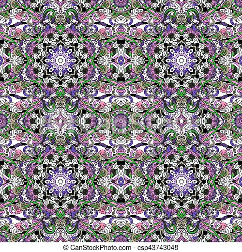 Rich with saturated colors, beautiful medieval ornament. Seamless floral pattern of circular floral elements. Vector design of mandalas.  Template for textiles, shawl, bed linen, carpets, cushions. - csp43743048