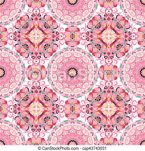 Rich with saturated colors, beautiful medieval ornament. Seamless floral pattern of circular floral elements. Vector design of mandalas.  Template for textiles, shawl, bed linen, carpets, cushions. - csp43743031