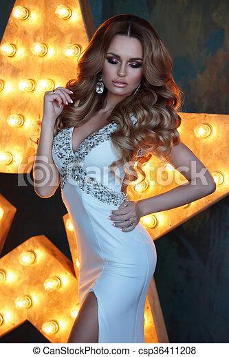 Older blonde white blouse
