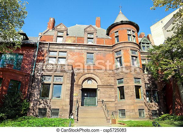 Richardsonian Victorian House Tower Washington DC - csp5725083