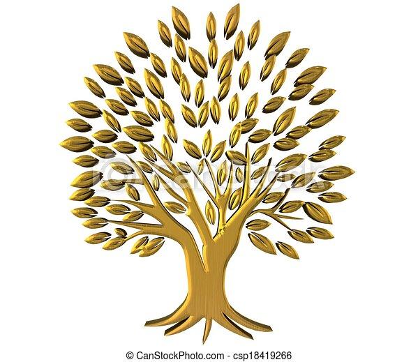 richesse, or, symbole, arbre, logo, 3d - csp18419266