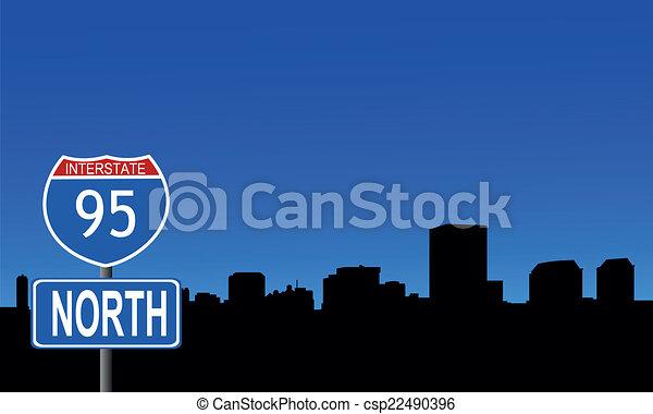 Richmond skyline interstate sign - csp22490396