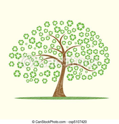 Riciclare Albero Simbolo Albero Illustrazione Vettore