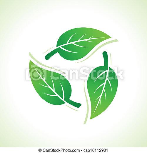 riciclare, foglie, fare, icone - csp16112901
