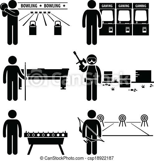 ricreativo, giochi, ozio, clipart - csp18922187