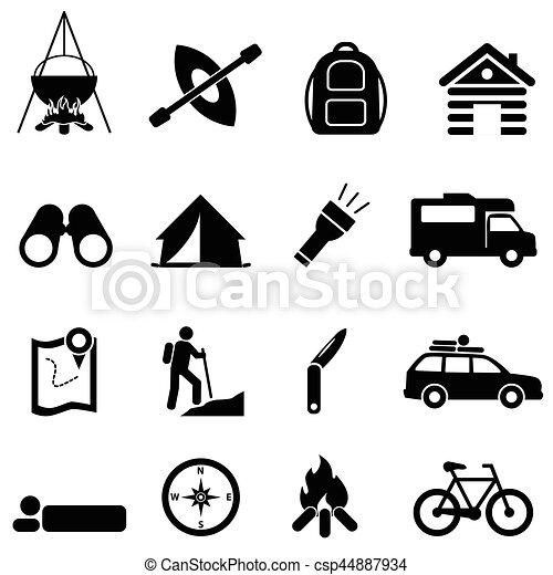 ricreazione, ozio, campeggio, icone - csp44887934
