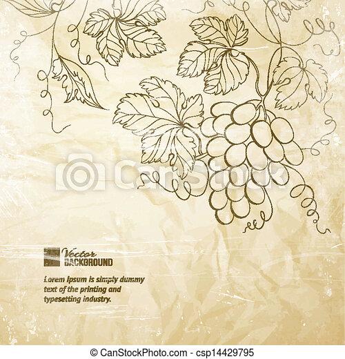 ridé, papier brun, grapes. - csp14429795