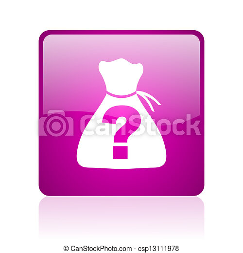 riddle violet square web glossy icon - csp13111978