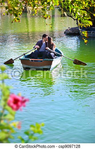 ride., par, romanticos, bote - csp9097128