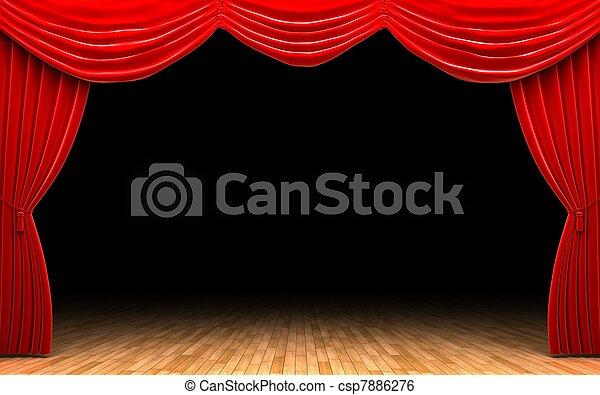 Rideau, velours, scène, rouges, ouverture.
