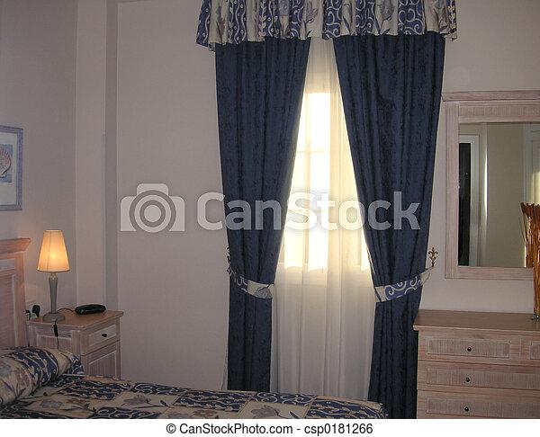 Rideaux, fenêtre. Intérieur, projection, fenêtre, chambre à... image ...