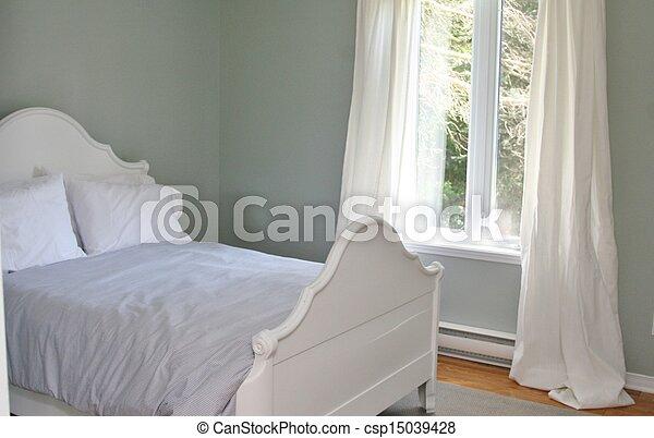Rideaux, Lit, Chambre À Coucher. Rideaux, Oreillers, Gris,  Photo