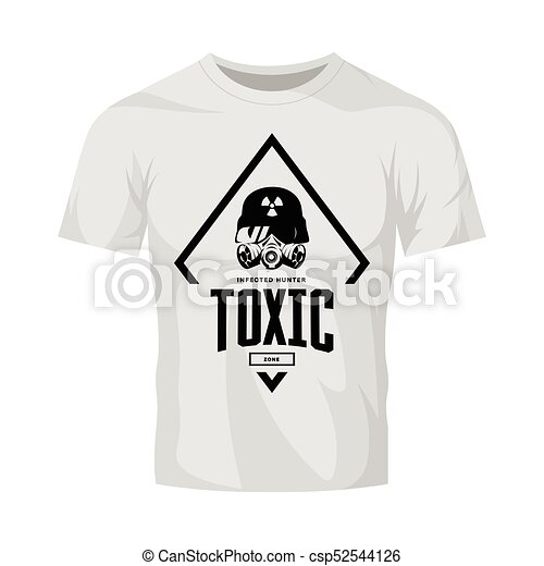 rider in helmet and gas mask vector logo isolated on white t shirt