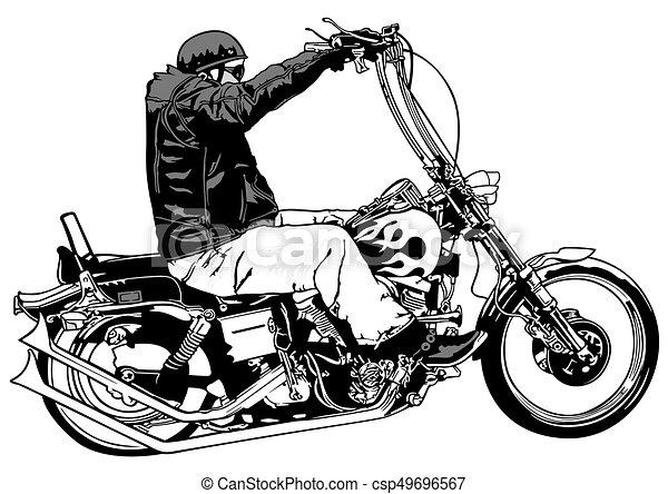 Rider On Chopper Black And White Illustration Vector