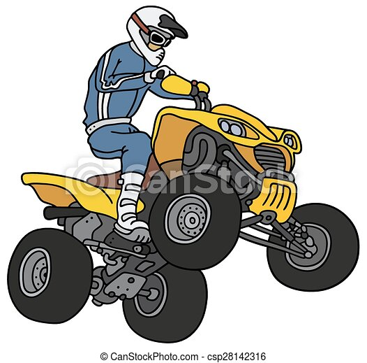 rider on the atv hand drawing of a rider on the yellow all terrain rh canstockphoto com free atv clipart atv clip art stunts