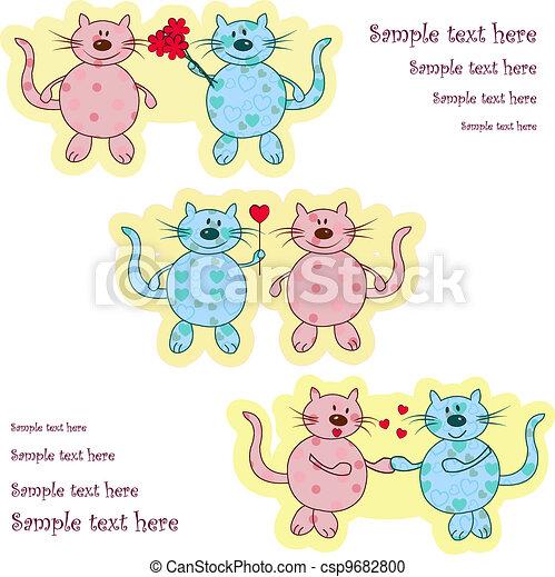 Ridiculous enamoured cats - csp9682800