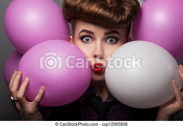 Ridiculous Girl with Colorful Air Balloons Enjoying - csp12065808