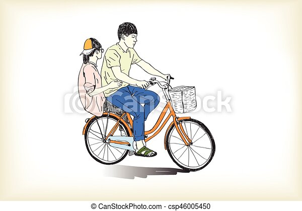 Riding Bicycle Boy An Girl Free Hand Drawing Vector And Illustration