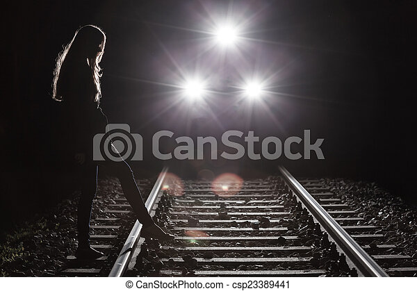 Riding train and girl - csp23389441