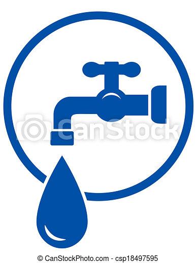 Riegue grifo gota agua azul grifo gota se al vectores for Grifo dibujo