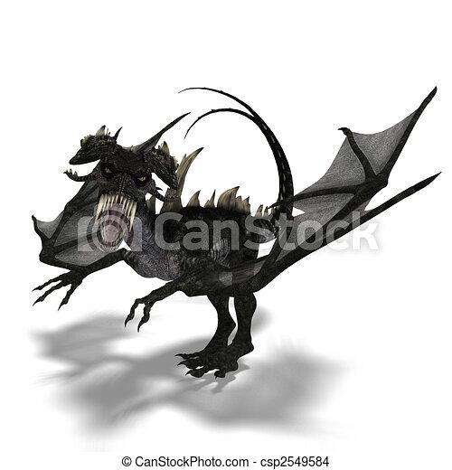 riesig, angriffe, feuerdrachen, terrifying, hörner, flügeln - csp2549584