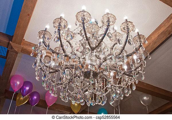 riesig, tanzsaal, kronleuchter, ceiling., anhänger, großes glas, kronleuchter, hängender , kristall