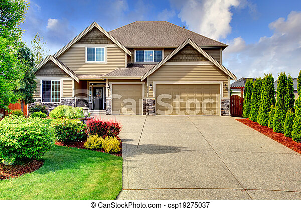 rifilare, casa pietra, tetto, parteggiare, piastrella - csp19275037